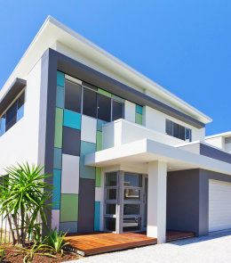 Modern architectural house front on sunny day